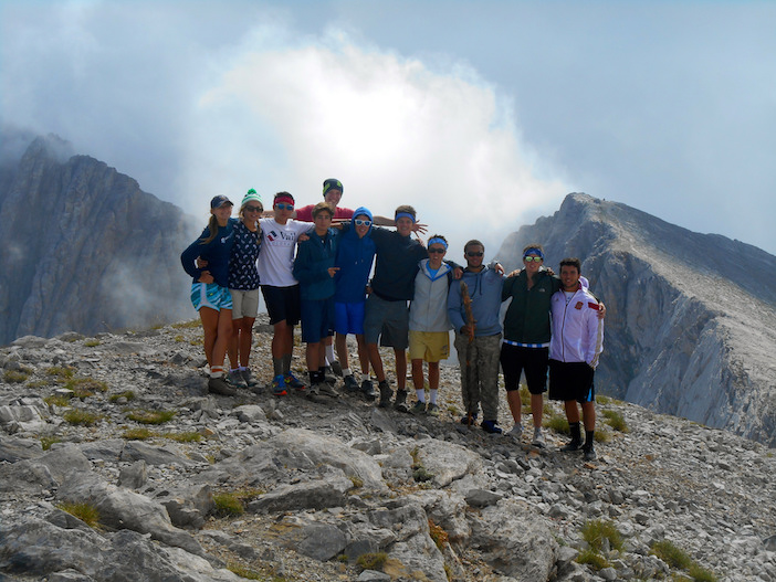 At the peak of Mt. Olympus after a day-long hike