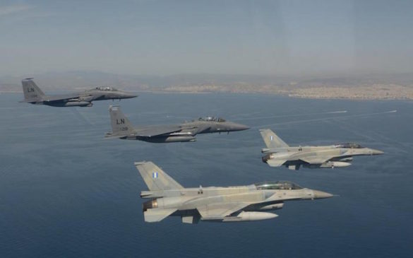 (Photos, Video) Greek, US Air Force Jets Fly Over Acropolis in Joint Exercise