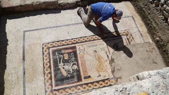 """(Photos) """"Be Cheerful, Enjoy Your Life"""" Says 2,400 Year Old Ancient Greek Mosaic Found in Turkey"""
